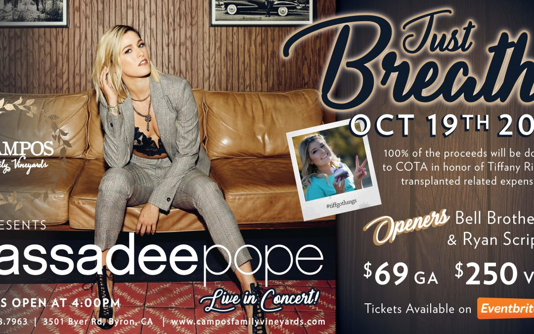 Cassadee Pope – Just Breathe Fundraiser in honor of lung transplant recipient Tiffany Rich