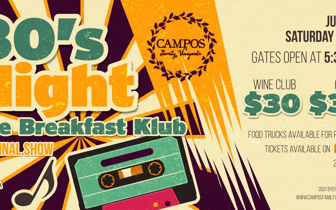 80s Night – The Breakfast Klub – Summer Concert